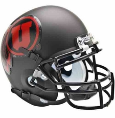 Utah Utes Black w/ Red Logo Schutt Authentic Mini Helmet