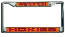Virginia Tech Hokies Laser Cut Chrome License Plate Frame