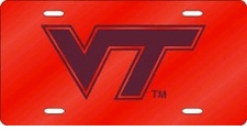 Virginia Tech Hokies Orange Laser Cut License Plate