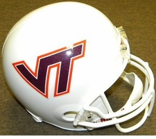 Virginia Tech Hokies White Riddell Deluxe Replica Helmet