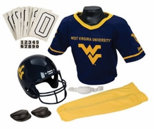 West Virginia Mountaineers Deluxe Youth / Kids Football Helmet Uniform Set