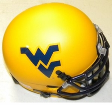 West Virginia Mountaineers Gold Schutt XP Authentic Mini Helmet