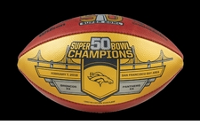 Wilson Official Leather NFL SUPER BOWL 50 GOLD Full Size Game Football - Denver Broncos Super Bowl Champs
