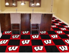 Wisconsin Badgers Carpet Tiles - 20 18x18 Square Tiles