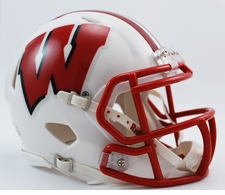 Wisconsin Badgers White Riddell Speed Mini Helmet