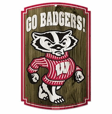 Wisconsin Badgers Wood Sign