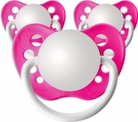 3 Neon Pink Orthodontic Personalized Pacifiers