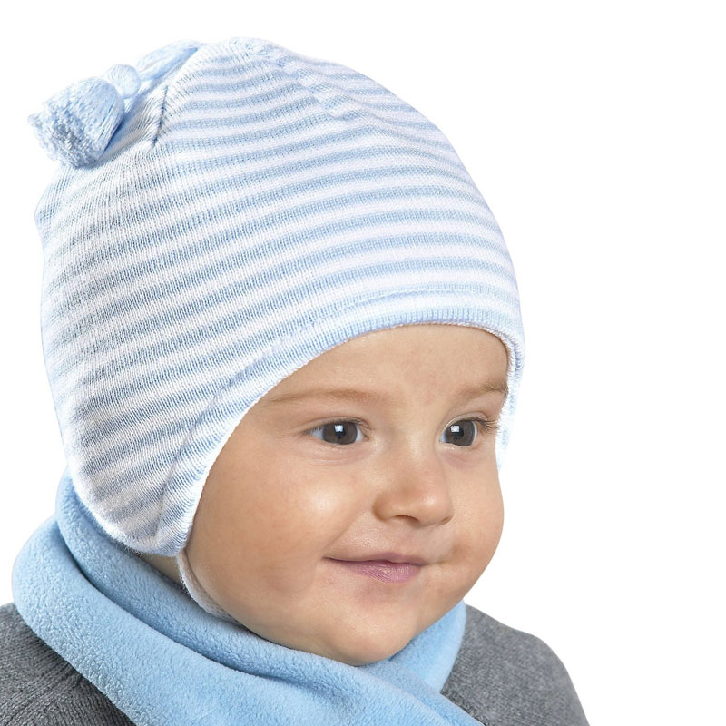 Kneesntoes Net Baby Boy Striped Knitted Hat With Hanging Tassle