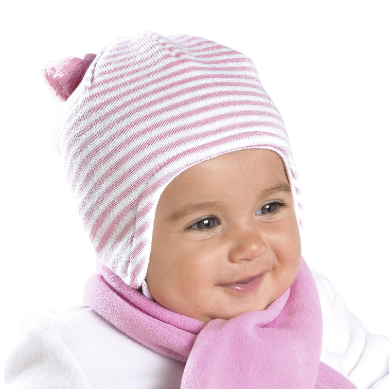 Kneesntoes Net Baby Girl Striped Knitted Hat With Hanging Tassle