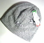 Girls Winter Pull On Hat With Bows Grey