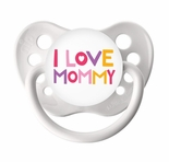White Orthodontic Expression Pacifier I Love Mommy