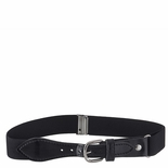 Childrens Elastic Adjustable Stretch Belt With Leather Strap Buckle Black