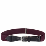 Childrens Elastic Adjustable Stretch Belt With Leather Strap Buckle Burgandy