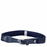 Childrens Elastic Adjustable Stretch Belt With Leather Strap Buckle Navy Blue