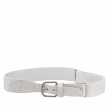 Childrens Elastic Adjustable Stretch Belt With Leather Strap Buckle White