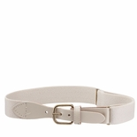 Childrens Elastic Adjustable Stretch Belt With Leather Strap Buckle Ivory
