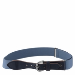 Childrens Elastic Adjustable Stretch Belt With Leather Strap Buckle Light Blue