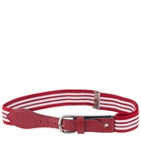 Childrens Elastic Adjustable Stripe Belt With Leather Buckle Red/White Stripe