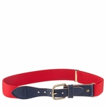 Childrens Elastic Adjustable Stretch Belt With Leather Strap Buckle Red