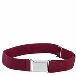Childrens Elastic Adjustable Stretch Belt With Buckle Burgandy