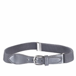 Childrens Elastic Adjustable Stretch Belt With Leather Strap Buckle Grey