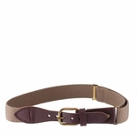 Childrens Elastic Adjustable Stretch Belt With Leather Strap Buckle Khaki/Camel