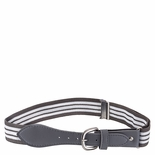 Childrens Elastic Adjustable Stripe Belt With Leather Buckle Grey/White Stripe