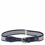 Childrens Elastic Adjustable Stripe Belt With Leather Buckle Navy/White Stripe