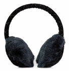 Clips N Grips Girls Ear Warmers Quilted Velvet Fur Earmuffs Black
