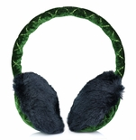 Clips N Grips Girls Ear Warmers Quilted Velvet Fur Earmuffs Green