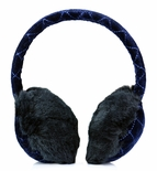 Clips N Grips Girls Ear Warmers Quilted Velvet Fur Earmuffs Navy Blue