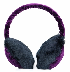 Clips N Grips Girls Ear Warmers Quilted Velvet Fur Earmuffs Plum (Purple)