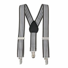 Clips N Grips Kids Suspenders Grey and White Stripe