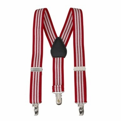 Clips N Grips Kids Suspenders Red and White Stripe