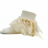JRP Girls Flower Lace Dressy Ruffled Sock Oatmeal