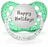 Happy Holidays Orthodontic Silicone Expression Pacifiers  Glitter Green