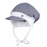 Infant Gingham Hat With Visor and Chin Laces