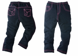 Chopstix Kids The Premiere Faux Denim for Girls With Pink Trimming
