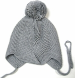 Toddler Crochet Hat with Pom Pom Grey