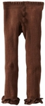 Jefferies Cotton Ruffle Footless Tights Leggings Chocolate Brown