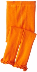 Jefferies Cotton Ruffle Footless Tights Leggings Orange