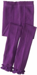 Jefferies Cotton Ruffle Footless Tights Leggings Purple