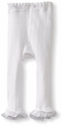 Jefferies Cotton Ruffle Footless Tights Leggings White
