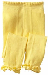Jefferies Cotton Ruffle Footless Tights Leggings Yellow