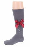 JRP Girls Cascade Bow Knee Sock Grey With Colored Bow