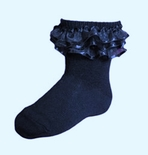Jrp Girls Dressy Anklet Ruffle Socks Navy Blue