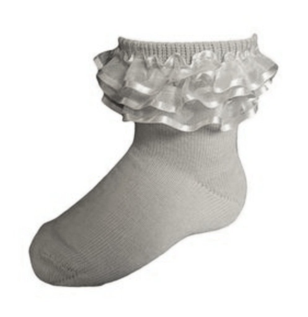 f3b9583eeca KneesNToes.net - Jrp Girls Dressy Anklet Ruffle Socks grey