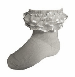 KneesNToes.net - Jrp Girls Dressy Anklet Ruffle Socks grey, girls ...