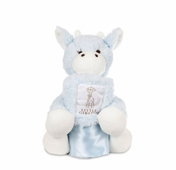 Little Giraffe Mini G plush Giraffe with Chenille Blanky Blue