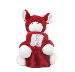 Little Giraffe Mini G plush Giraffe with Chenille Blanky Ruby Red
